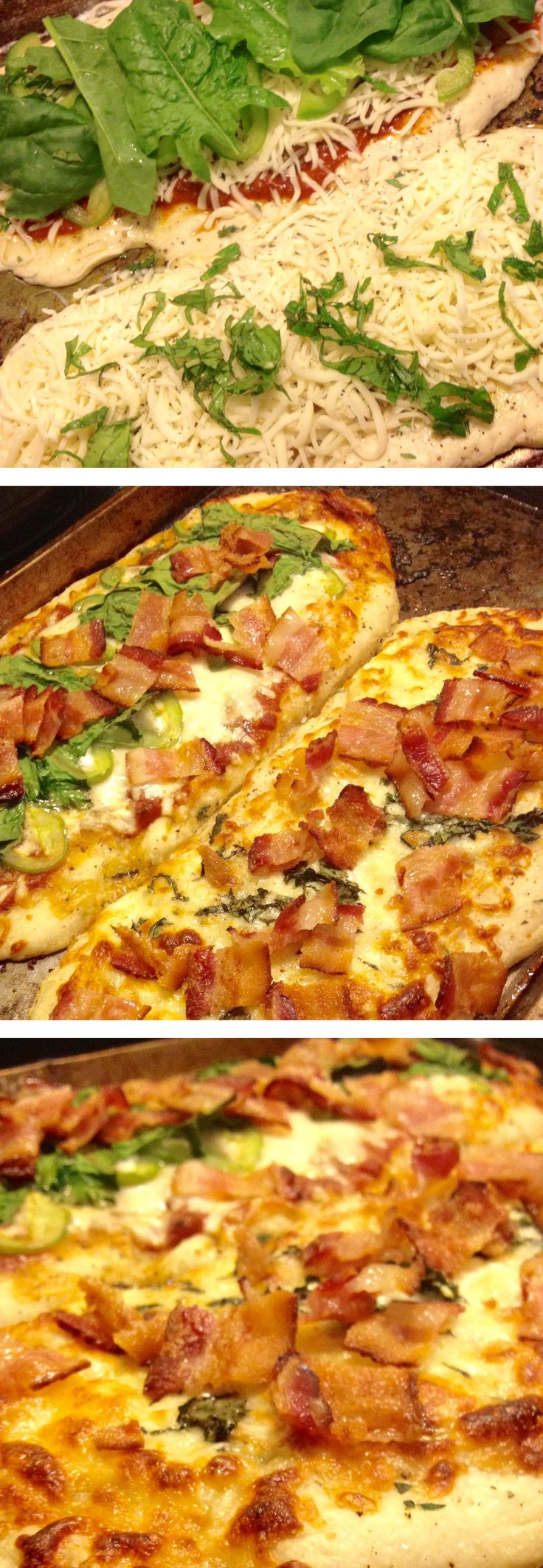 Take the super easy recipe for Garlic-Cheddar-Thyme Flatbread (www.cabotcheese.coop/grilled-cheddar-flatbread-with-garlic-thyme-oil), cook according to directions, then top with your favorites - we used pizza sauce, mozz, green peppers, fresh basil, fresh spinach, and BACON! and bake or grill for 5-10 minutes until everything is melty. so good
