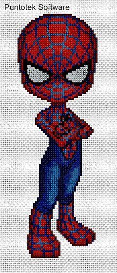 spiderman en punto de cruz.