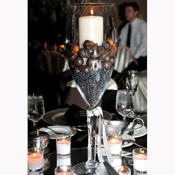 Tall champagne glass vase centerpiece for elegant by
