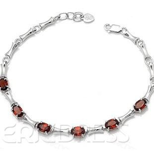 Lovely  High quality Silver garnet bracelet