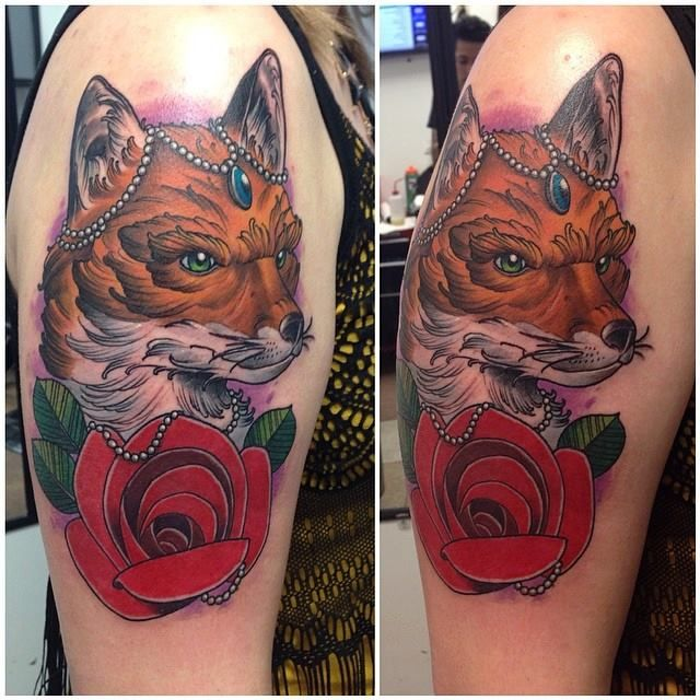 Henna Tattoo Milwaukee : Neotraditional fox with rose by gerardo soto at moving