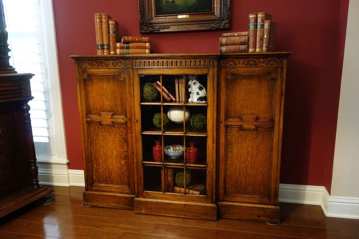 Antique English Carved Tiger Oak Carved Breakfront Bookcase Cabinet Glass Door