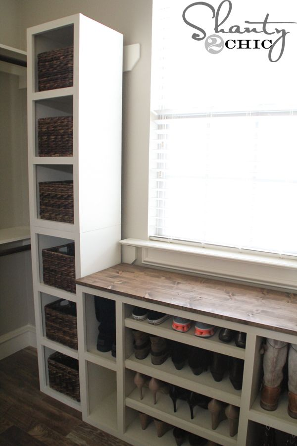 Hey guys! I'm back with an addition to my Modular Closet Storage System! If you missed my Shoe Storage Cabinet you can see it HERE! This week I got busy with these storage towers! There are four in this picture and they are about 42″h x  15″w x 13″d. These are great because you can stack …