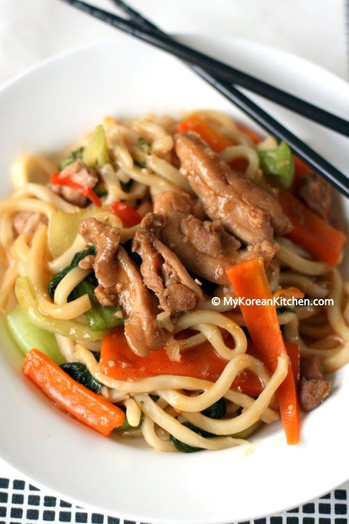 Korean Style Stir-fried Udon Noodles with Chicken and Veggies | MyKoreanKitchen.com