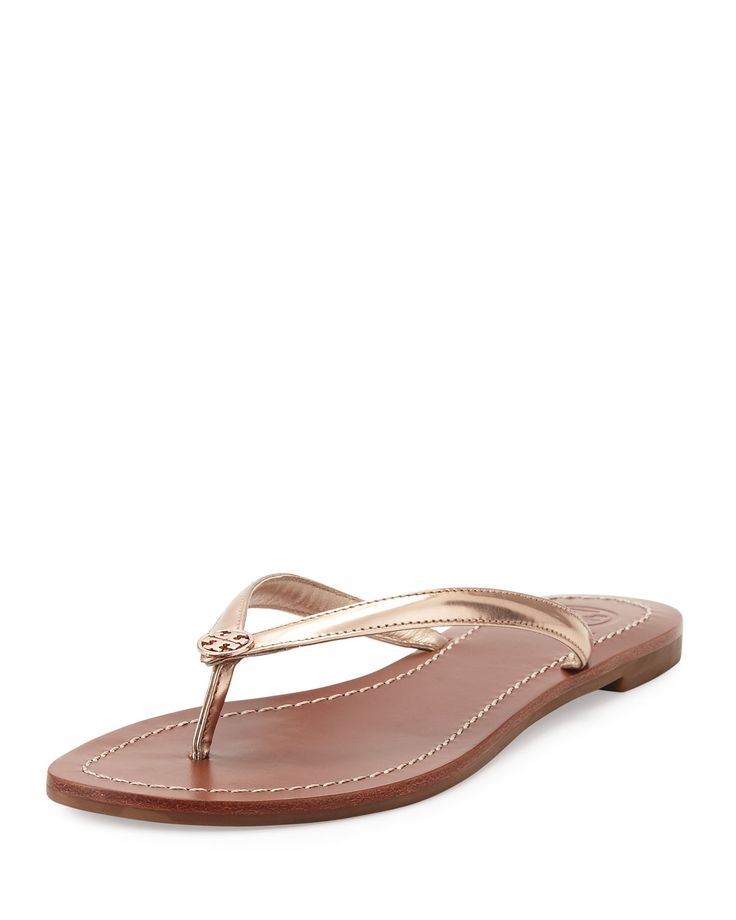 Tory Burch Terra Metallic Thong Sandal, Rose Gold, Women's, Size: 6B/
