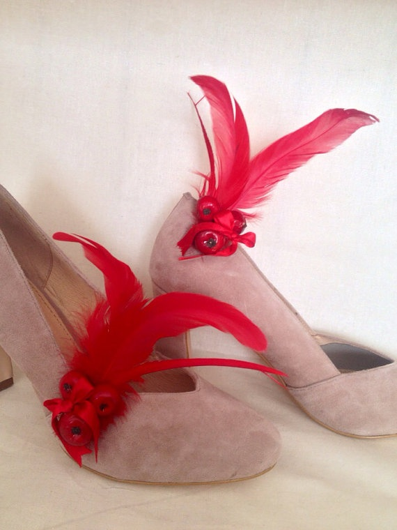 Cherry red feather shoe clips fascinators by DesignedbyDivas, $39.95