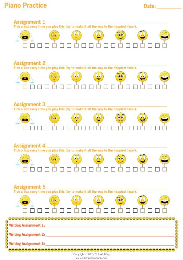 frown to smile assignment sheets for piano practice
