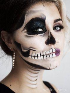 макияж скелет на Хэллоуин фото