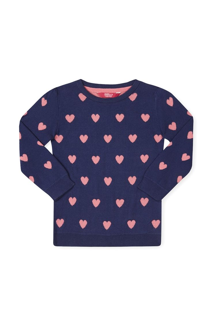 Primark - Gebreide donkerblauwe trui met hartjes