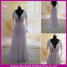 SW1170 Long Sleeves Chiffon Cheap Open Back Sexy Beach Wedding Dresses 2014