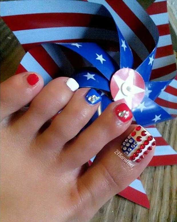2364 best toe nails design pedicure images on pinterest nails 31 patriotic nail ideas for the 4th of july prinsesfo Image collections