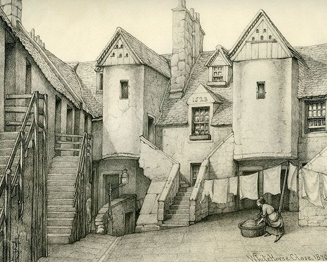 Old Houses In Edinburgh Drawing By Bruce J Home