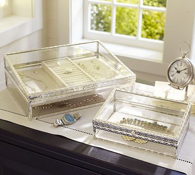 Antique-Silver Jewelry Boxes #potterybarn