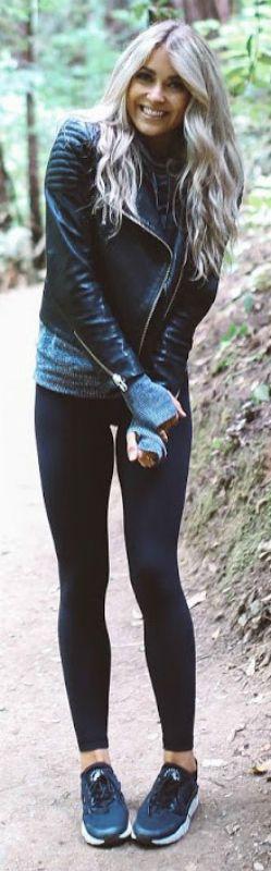 cosy up + woollen sweater + leather jacket outfit + Cara Loren + must-wear + autumn and winter seasons + effortlessly cute aesthetic!   Jacket: H&M, Jumper: Forever21, Leggings: Lulu Lemon.