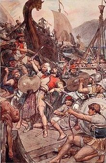 Death of admiral Ariabignes (younger brother of Xerxes), during the early part of the Battle of Salamis.
