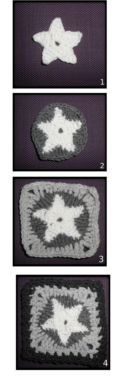 Star granny square for All Star Blanket in making