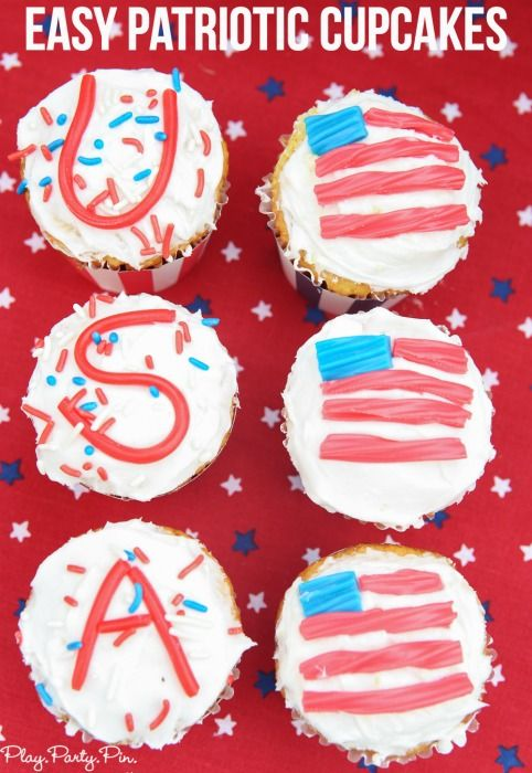 The easiest red, white, and blue cupcakes ever! The perfect 4th of July dessert ideas and other great 4th of July party ideas!