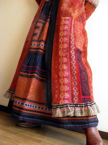 アジア衣類モン族アートコレクションフード付きコートNice coat !