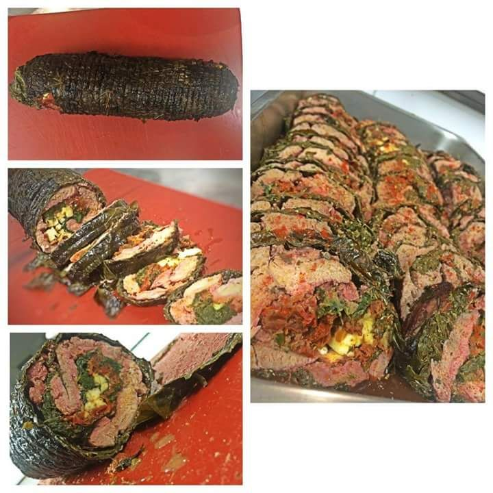 Lamb roll with wineleaves. Santorini Weddings, Wedding venue, Wedding ceremony and reception, Sunset view, wedding menu.