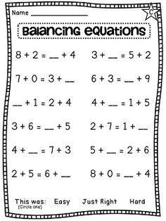 First Grade Math Unit 8 Balancing Equations Choosing An