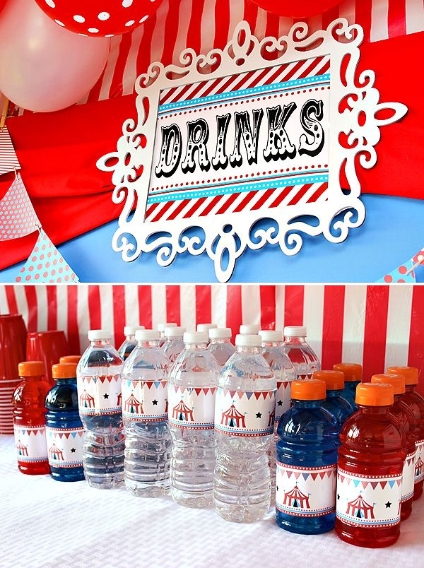 Una preciosa forma de presentar los refrescos para una fiesta circo / A lovely way to present the refreshments at a circus party
