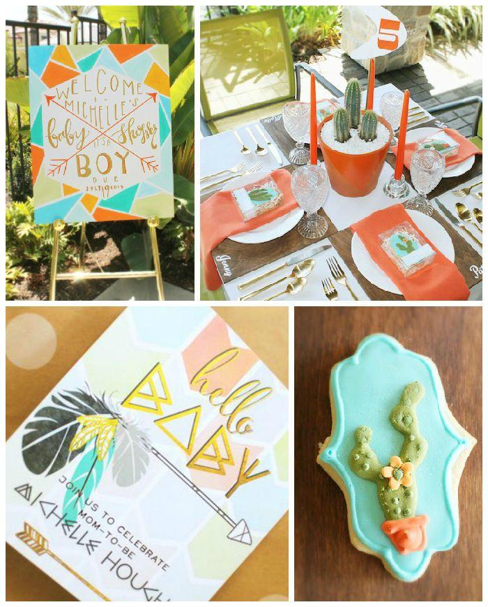 Modern Aztec Inspired Baby Shower via Kara's Party Ideas | KarasPartyIdeas.com (3)