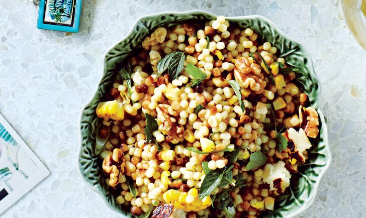 Corn and Fregola with Grilled Halloumi Cheese Recipe