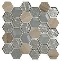 American Olean Loren Place 11-in x 11-in Metallic Blend Glass and Metal Random…