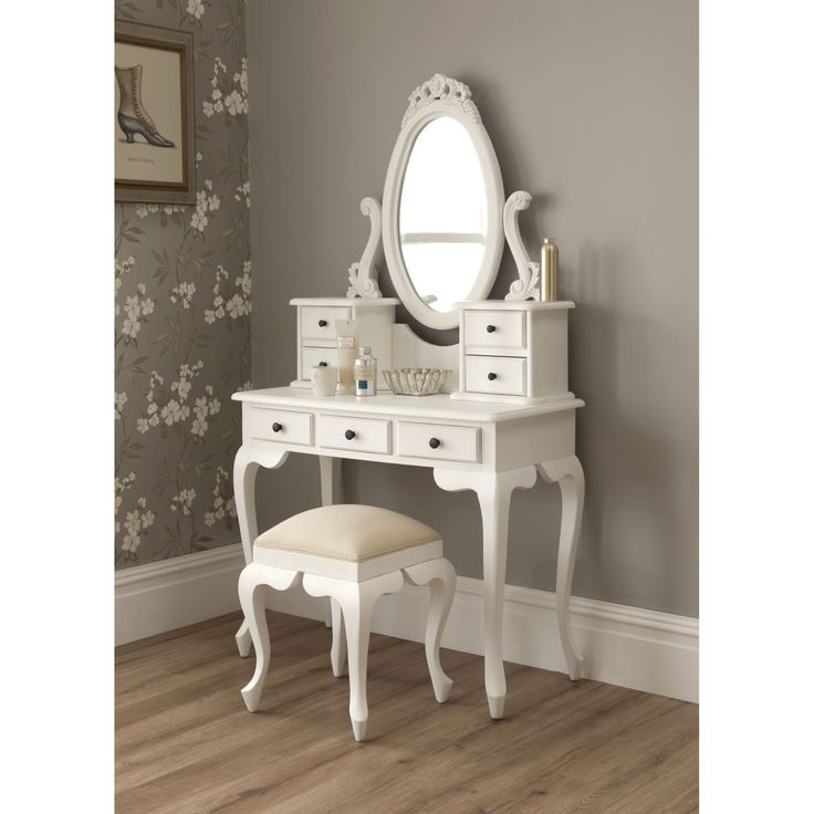 Vintage White Dressing Tables Mirror With 3 Drawers And Backless Stool On Wooden Flooring As
