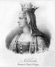 4) ADELAÏDE DE FRIOUL: Le roi Charles le Chauve parvient à faire répudier Ansgarde par son fils qui peut se marier avec Adelaïde en 875. Ce second mariage de Louis le Bègue était ce qu'il y a de mieux en matière de consanguinité et c'est à cause de cela que le pape refusa de couronner Adelaïde lors du concile de Troyes le 7 septembre 878.