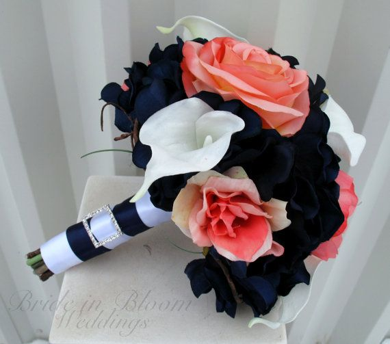 Wedding bouquet coral navy white calla by BrideinBloomWeddings, $80.00