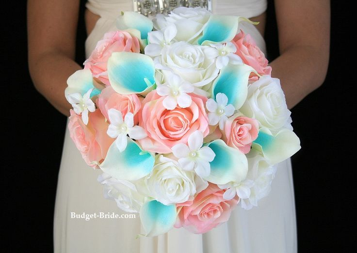 Pink and Tiffany Blue Wedding Flowers accented with stephanotis