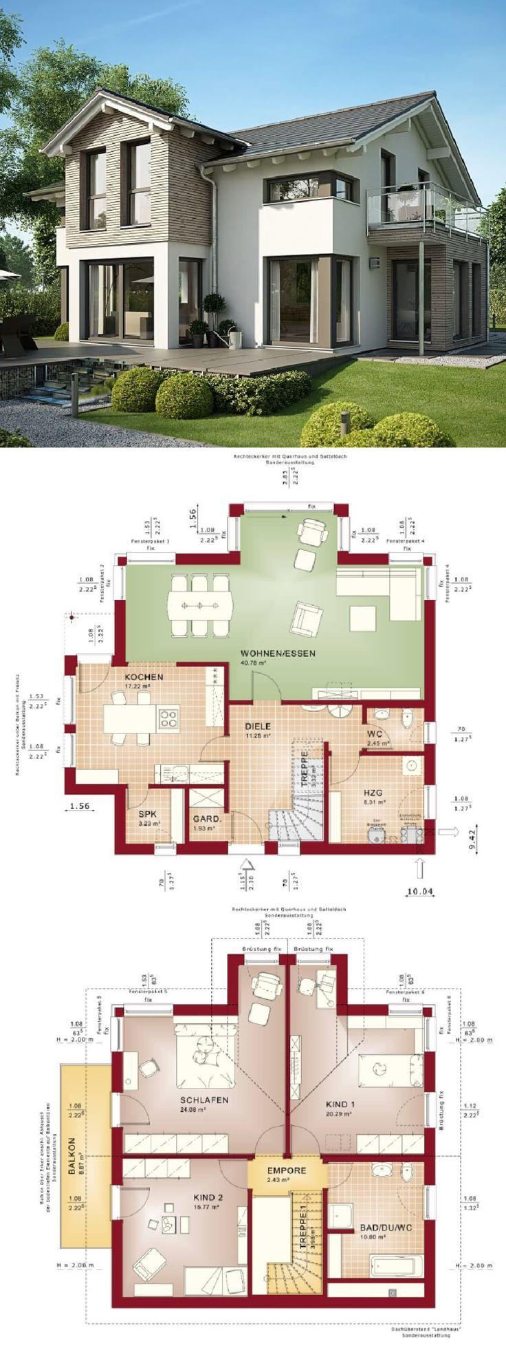 Modernes Einfamilienhaus mit Satteldach Architektur, Querhaus & Holz / Putz Fass