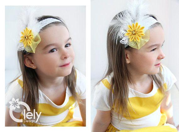 Yellow baby headband Flower Girl headband Lace by OlelyDesign