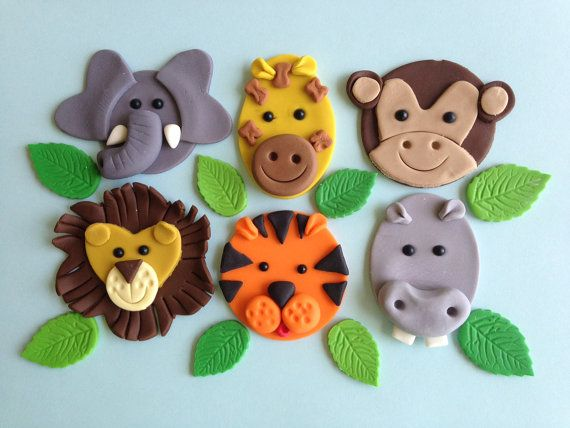 Jungle Animal Cupcake Toppers One Dozen by Clementinescupcakes, $23.95