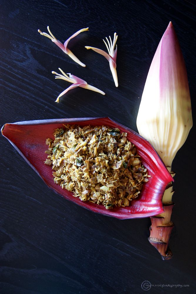 Did you know banana flower (vazhaipoo) is edible and a super food, especially for women.  Try this South Indian poriyal and you will be amazed.