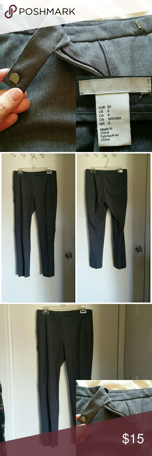 H m black dress pants elastic