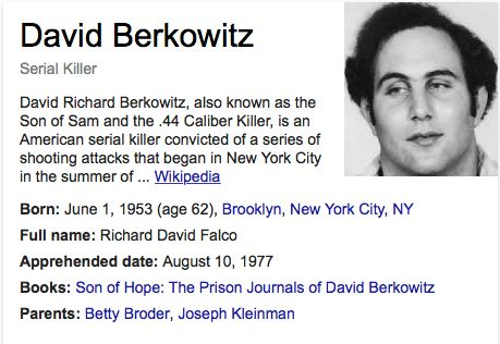 david richard berkowitz David richard berkowitz (born as richard david falco), aka son of sam and the44 caliber killer, is an american serial killer who was active for roughly a year between 1976 and 1977.