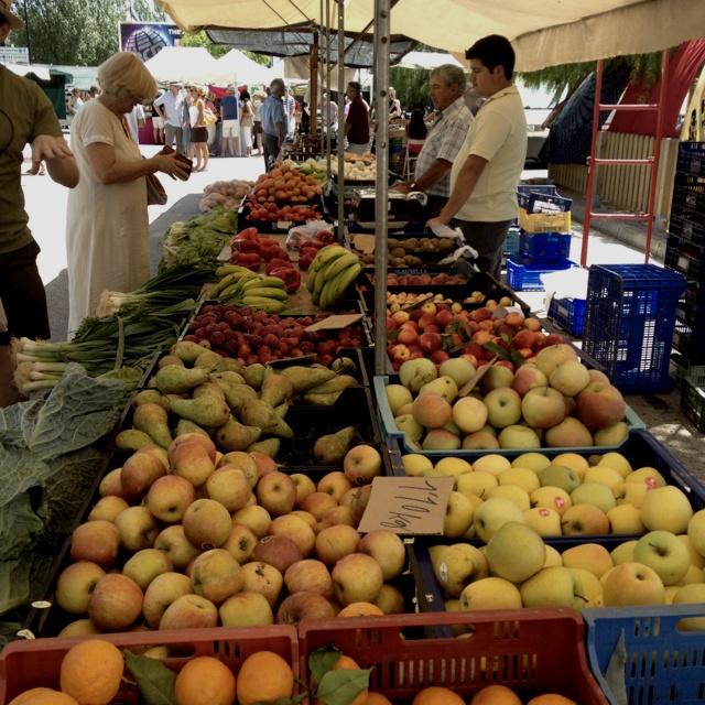 Fresh food market in Satanyi, Mallorca.