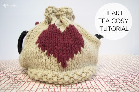 knitted tea cosy: Valentine's Day tea cosy tutorial on the LoveKnitting blog
