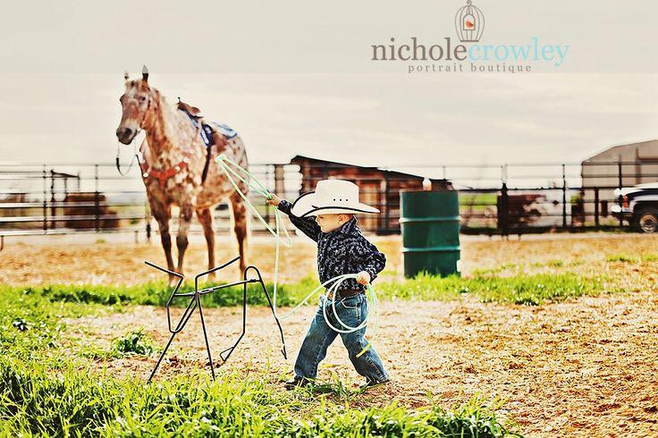 Little cowboy, rope and ride, cowboy hat, horse, children portrait