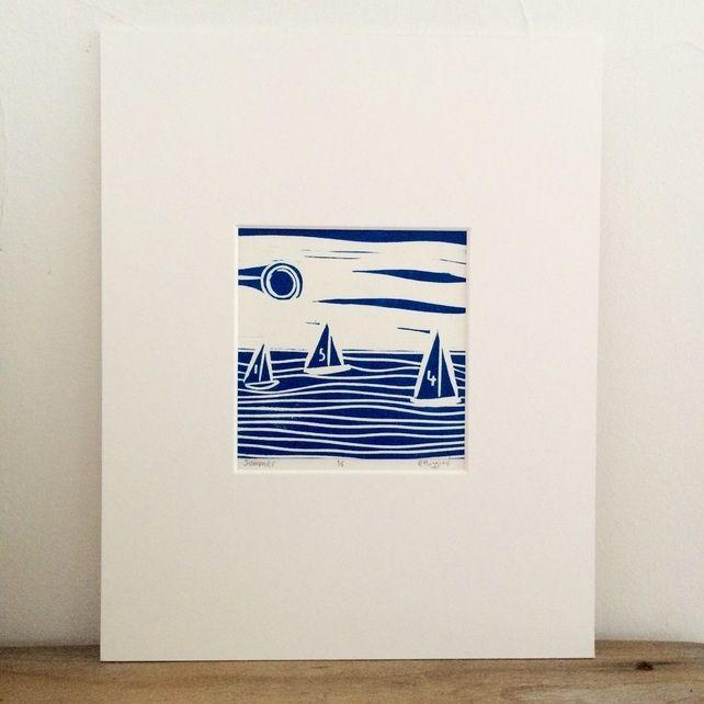 Sailing lino print