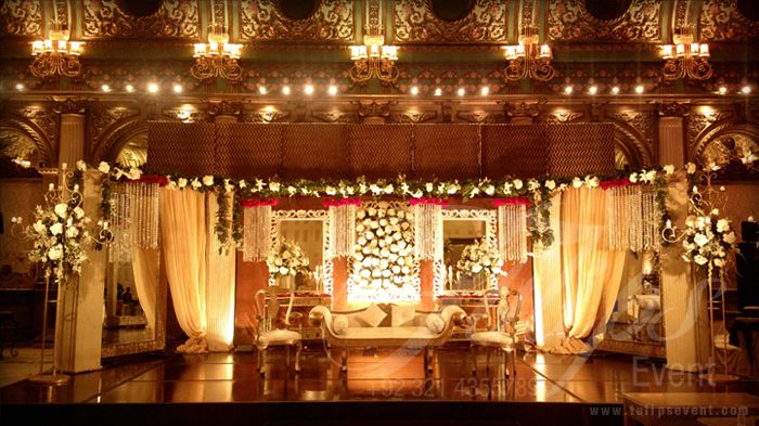 A Beautiful Pakistani Wedding Baraat Stage Decoration setup and design by: www.tulipsevent.com