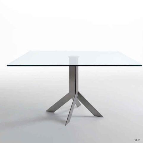 Moderna mesa cuadrada con tablero en cristal y nico pie for Mesa cuadrada moderna