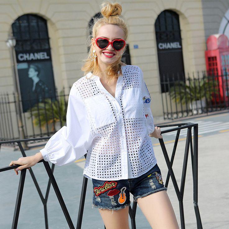 >> Click to Buy << 2017 Women White Shirts Blouses Girls Office Hollow Shirt Streetwear Korean Tops Ladies Clothing Casual Boho Girls College Top #Affiliate