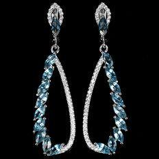 Prachtige echte londonse blauwe topaas 925 zilveren oorbellen
