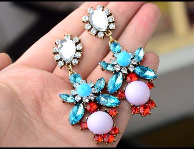 Multi color crystal earrings.