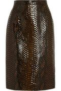 Skin is in - Burberry Prorsum glossed python-effect suede pencil skirt @NET-A-PORTER.COM