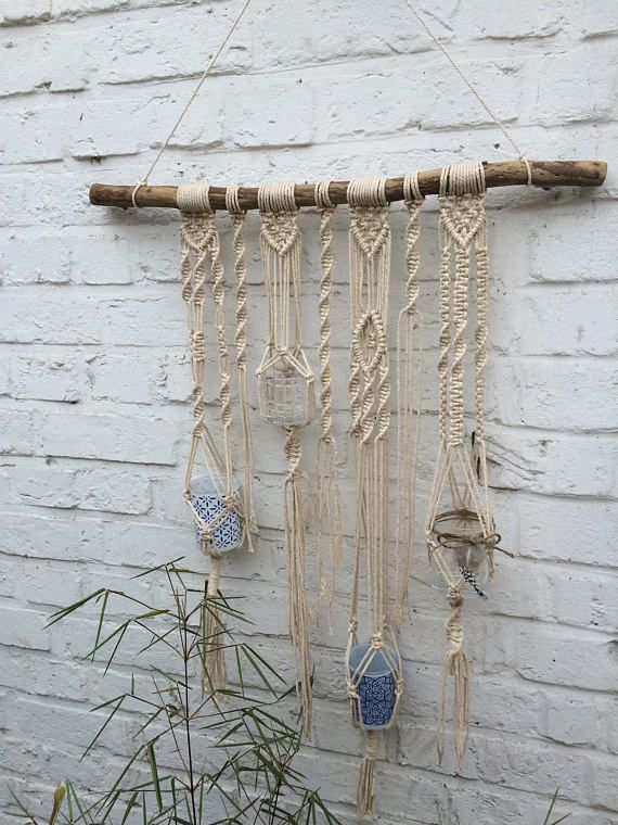 Macrame Wall Hanging Cotton On Natural Wood 4 Small