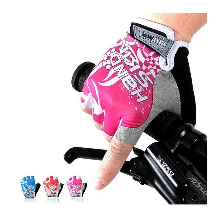 Women Gel Pad Bicycle Half Finger Gloves Cycling Fingerless Shockproof Pink Red #Unbranded #HalfFingerFingerless